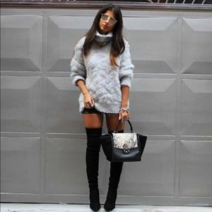 Zara Turtleneck Sweater Fuzzy Chunky Knit Blogger